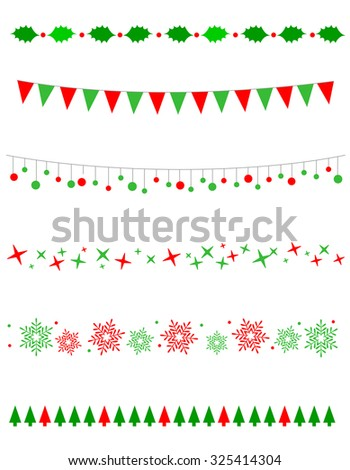 Collection on christmas borders / divider graphics including holly border, bulbs / lights pattern, christmas trees snow and stars - stock photo
