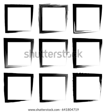 Collection Set Artistic Black Paint Hand Stock Illustration ...