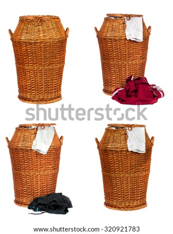 Collection or set of Wicker laundry basket or Hamper full with dirty clothes  over white background