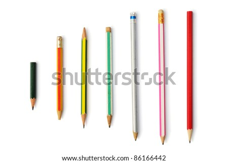 Collection pencil isolated on the white background