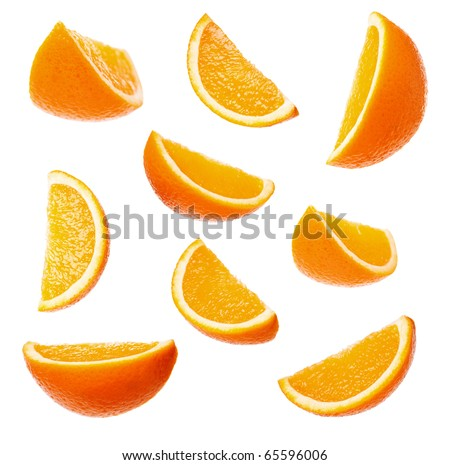 Collection perfect orange slices isolated on white background - stock photo