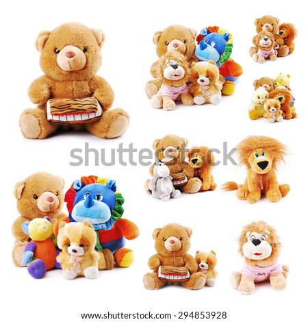 collection plush toy animals isolated on a white background
