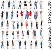 Collection pointing people. Isolated over white. - stock photo
