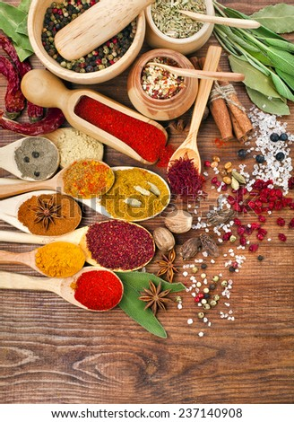 Collection powder spices on spoons in wooden table surface top view background