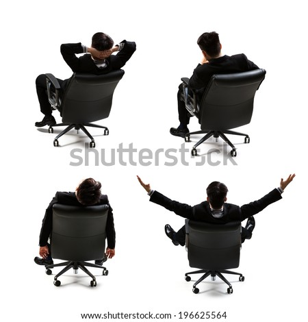 Collection rear view of businessman sitting on the chair, Isolated over white
