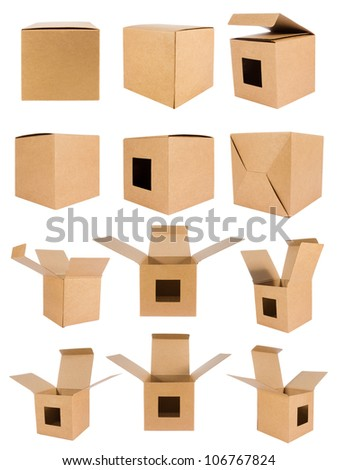 Collection  recycle cardboard box front side with isolated on white backgrounds