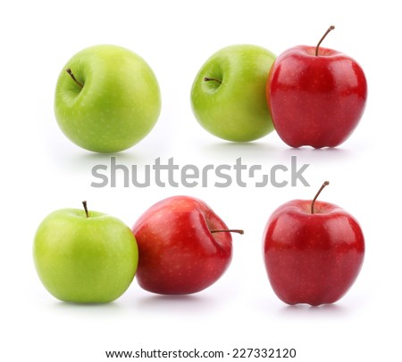 Collection Red and green apple isolated on white background