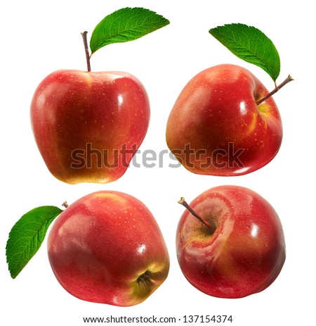 collection red apples isolated on white - stock photo