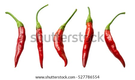 Collection red chili peppers -Clipping Path