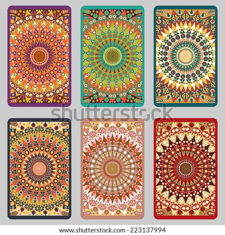 Collection retro cards. Ethnic backgrounds. Card of invitation. Vintage design elements - stock photo