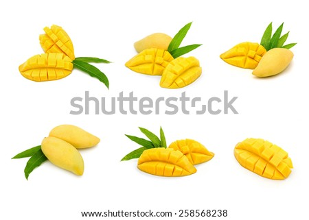 Collection ripe mango fruit isolate on white - stock photo