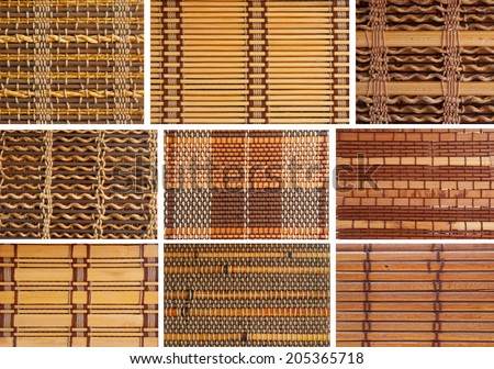 collection set bamboo blinds pattern wallpaper surface detail - stock photo