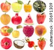 Collection set collage of fruits isolated on white background - stock photo