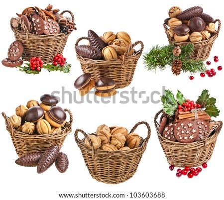 Collection set of basket christmas cookies with forest berries on a white background - stock photo