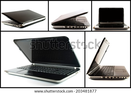 Collection (set) of black notebook or laptop