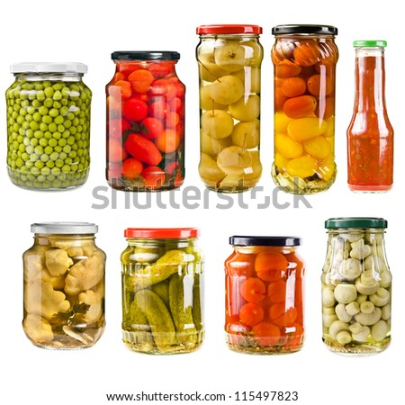 collection set of canned vegetables in glass jars  isolated on white background