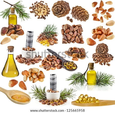 Collection set of cedar pine cones , nuts , oil glass bottle , isolated on white background - stock photo