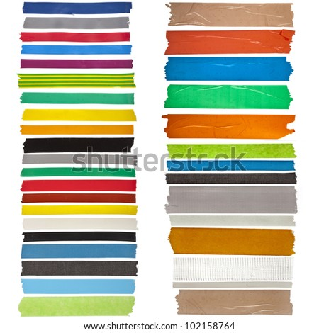 collection set of colorful adhesive tape or blank stickers for text on white background - stock photo