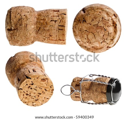 Collection set of Cork-stopper of champagne isolated  on  white background - stock photo