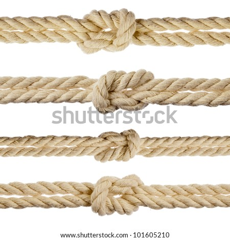 Collection set of cotton ropes with knot isolated on white background - stock photo