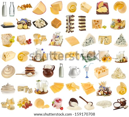 collection set of dairy milk produce, cheese, cottage curd isolated on white background - stock photo