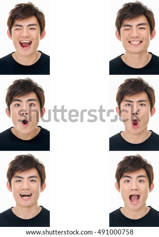 collection set of face expression like happy, sad, angry, surprise, yawn isolated