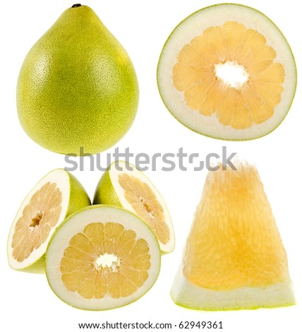 collection set of fresh pomelo citrus isolated on the white background