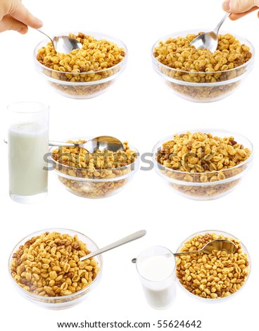 Collection,set of glass bowl of cold cereal flakes.Isolated - stock photo