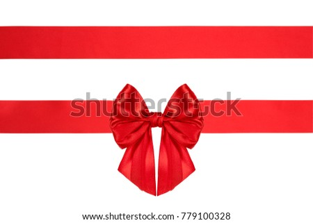 Collection set of glossy satin present bow with ribbons with red ribbon isolated on white background