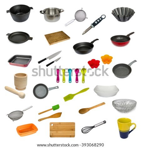Collection set of kitchen utensil isolated on white background - stock photo