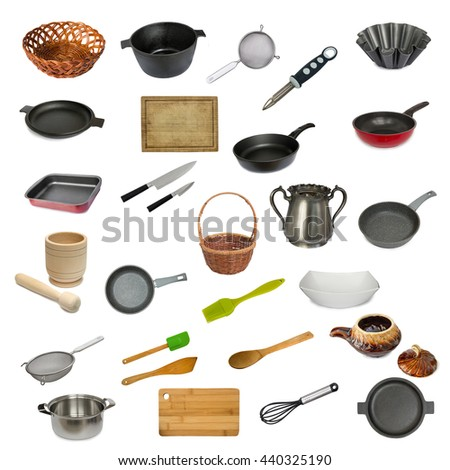 Collection set of kitchen utensil isolated on white background. Dish, pestle,spatula, plate,frying pot,spoon,pan,cutting board,mortar,saucepan,sieve,wicker basket,knife, vase, sugar bowl. - stock photo