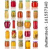 Collection set of many glass bottles with canned preserved food close up isolated on white background - stock photo