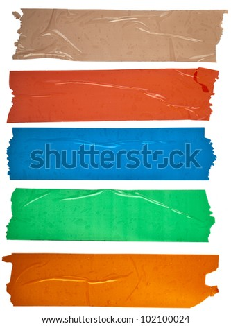 Collection set of of different colorful stripes adhesive tape, close up,  isolated on white background - stock photo