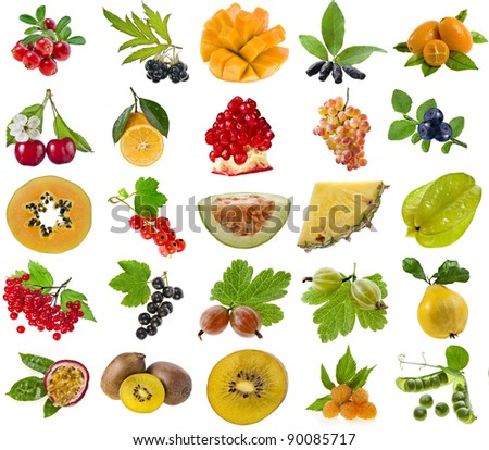 collection set of ripe fruits and berries isolated on white background