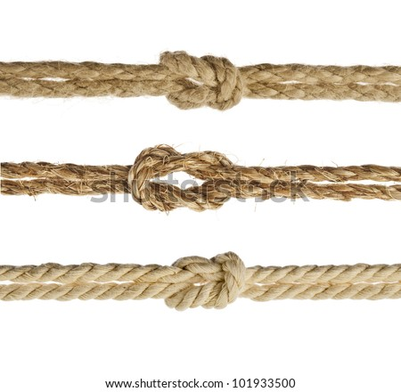 Collection set of Ropes with knot close up, Isolated on white background - stock photo