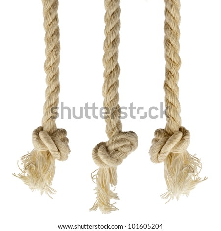 Collection set of ropes with knot isolated on white background - stock photo
