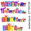 Collection set of rows colorful gift boxes with bows isolated on a white background  - stock photo