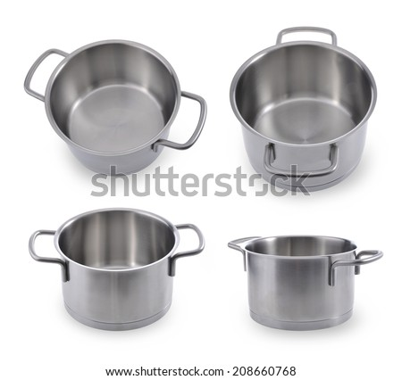Collection (set) of saucepans, made of stainless steel,cover, on white, Isolated - stock photo