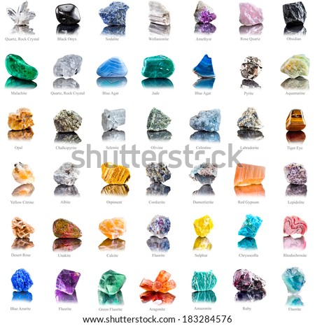 Collection Set Of Semi Precious Gemstones Stones And Minerals With Names Isolated On White Background