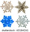 collection set of snowflake ornament decoration isolated on white background - stock photo
