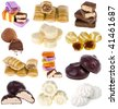 collection set of sweet candy isolated on white background - stock photo