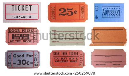 Collection set of vintage ticket stubs  - stock photo
