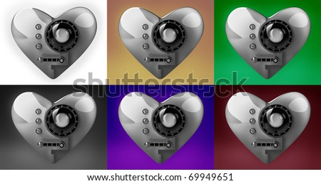 Collection silver heart safe isolated 3D render