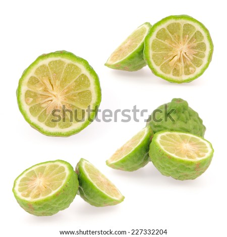 Collection Slice Kaffir lime isolated on white background  - stock photo