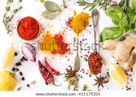 collection spices, herbs on a white background