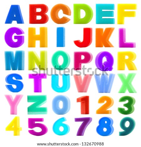 collection sponge alphabet and number isolated on white background with work path - stock photo