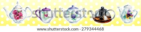 Collection teapots. Tea Time Set. Watercolor hand drawn illustration.  - stock photo