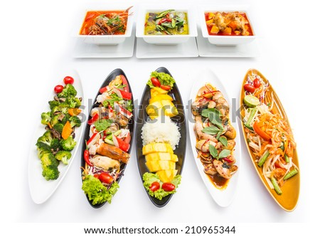 Collection Thai food with white background - stock photo