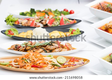Collection Thai food with white background