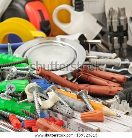 collection tools isolated on white background